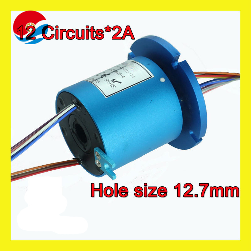 Electrical through hole slip ring bore size 12.7mm of 12 wires/circuits signal 2A with flange