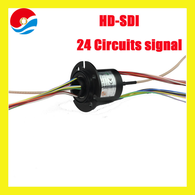 RG 179U Coaxial HD-SDI Slip Rings(1080P) 24 circuits signal of capsule slip ring