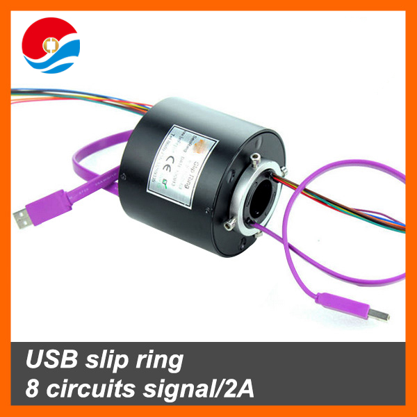USB slip ring Electrical assembly 8 circuits signal/2A with 1 channel USB 2.0 of through bore 25.4mm
