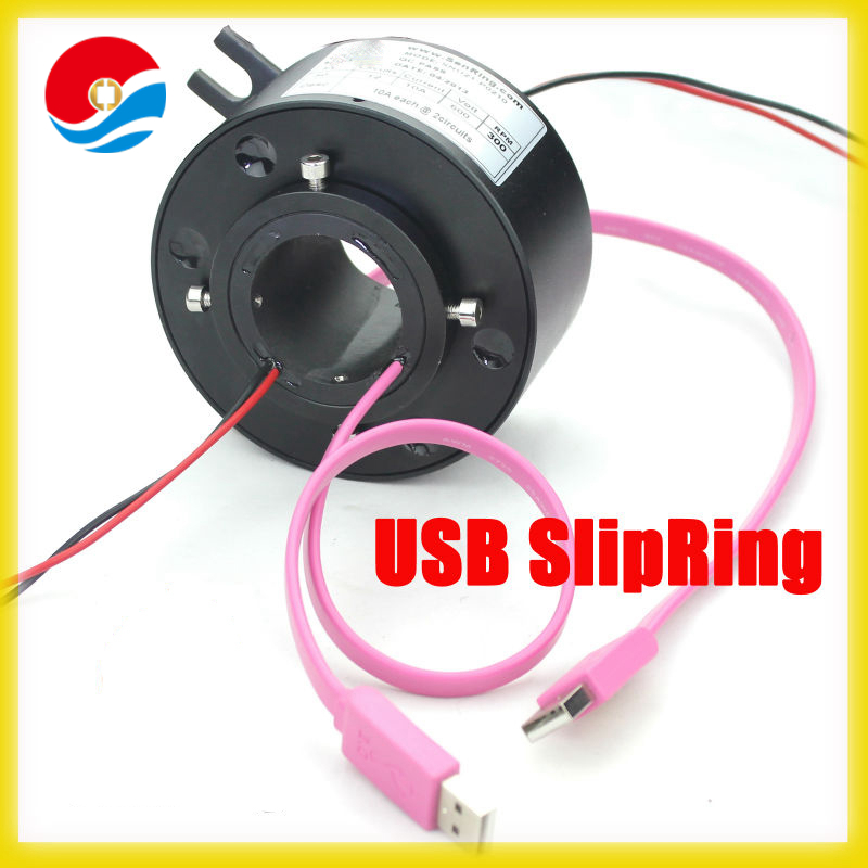 1 channel USB 2.0 with through hole 38mm of USB through hole slip ring