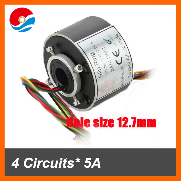 Hot selling slip ring SNH012 with 4 wires/circuits 5A through bore slip ring