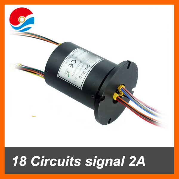 Electrical swivel connector 18 signal wires/circuits contact 2A of through hole 12.7mm slip ring with flange