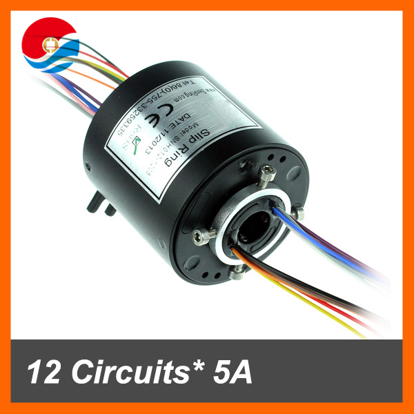 Through hole slip ring 12 wires/circuits contact 5A with bore size mini 12.7mm