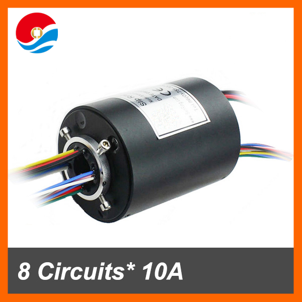 Slip ring rotating connector 8 wires/circuits 10A of hole size 12.7mm