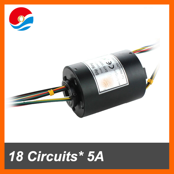Through hole slip ring connector 18 circuits/wires each 5A of bore size 12.7mm