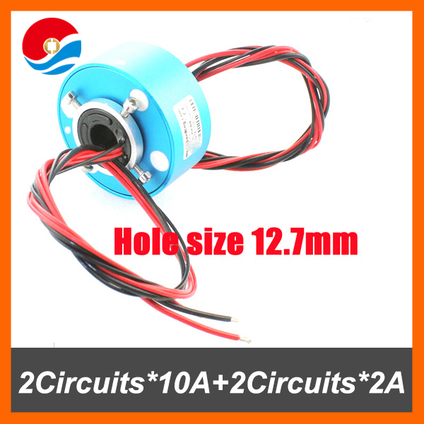 customized slip ring with inner size 12.7mm of through bore slip ring 2 circuits 10A+2 circuits signal/2A