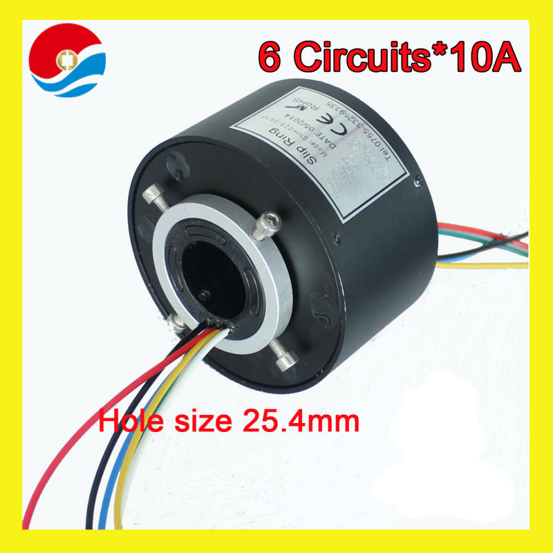 Slip ring assembly 6 wires/circuits 10A with bore size 25.4mm