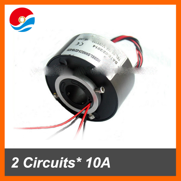 Electrical rotary joint connector 2 wires 10A+2 wires signal 2A with through bore 25.4mm slip ring