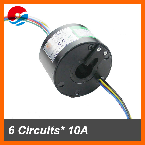 Conductive slip ring 25.4mm 6 circuits 10A with through bore