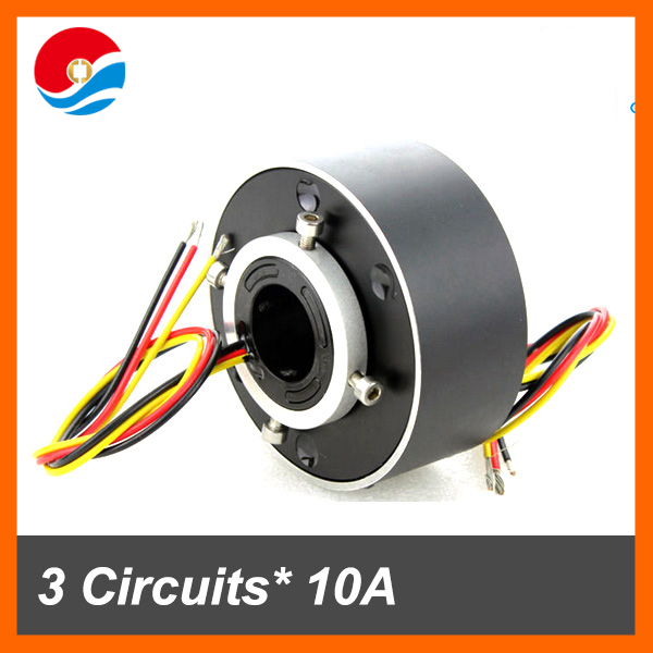 Industrial motor slip ring 3 circuits 10A of through bore 25.4mm