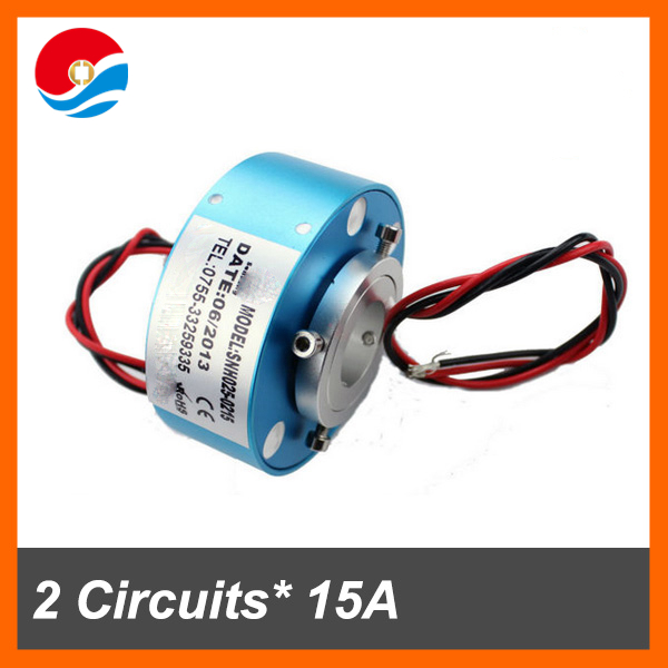 Electrical connector 2 circuits each 15A with hole size 25.4mm through bore slip ring