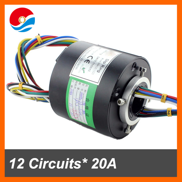Thermocouple slip ring 12 circuits 20A with bore size 25.4mm of through hole slip ring