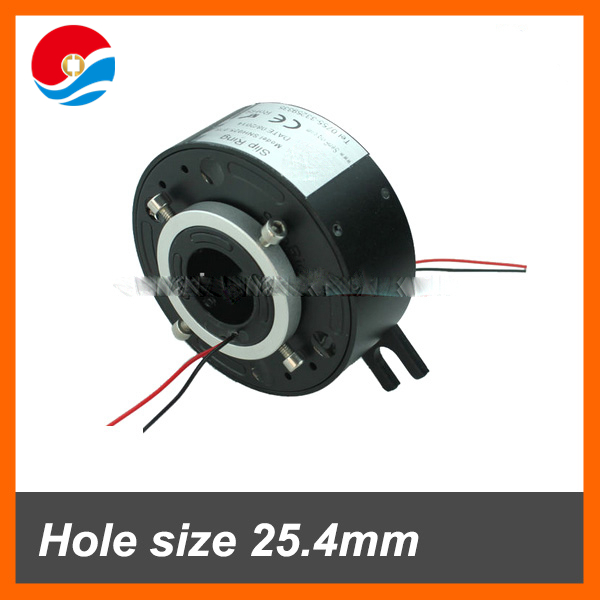 Electrical rotary joint slip ring hole size 25.4mm with 2 wires signal 2A