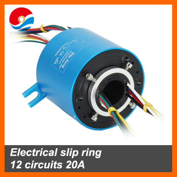 Electrical slip ring 12 circuits 20A with bore size 25.4mm of through hole slip ring
