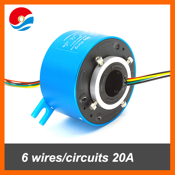 Slip ring 6 wires/circuits 20A with hole size 25.4mm rotary joint