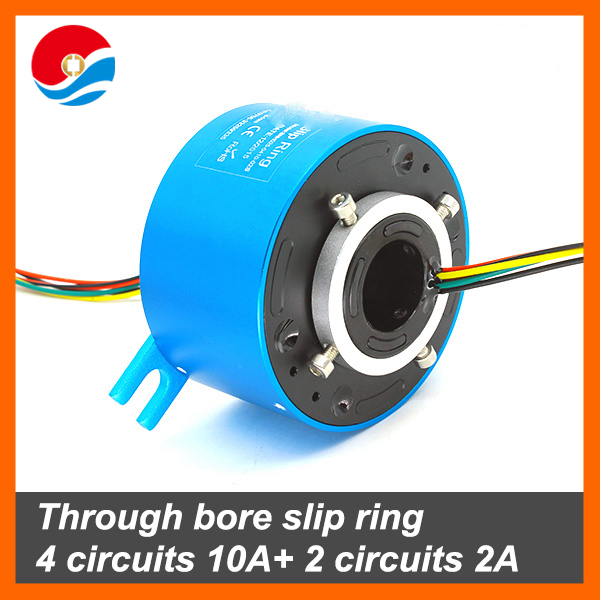 Through bore slip ring 2 circuits 10A+2 circuits 2A with hole size 25.4mm