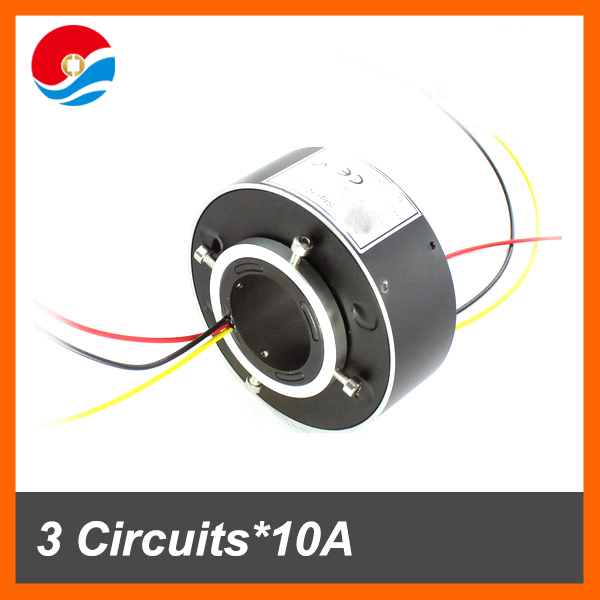 Electrical rotary joint 3 circuits 10A with inner size 38.1mm of through bore slip ring