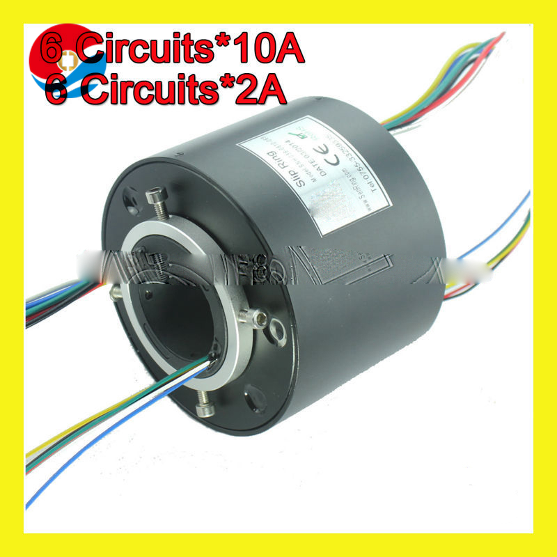 hole size 1.5''(38.1mm) with 6 circuits 10A+6 circuits signal 2A through hole slip ring