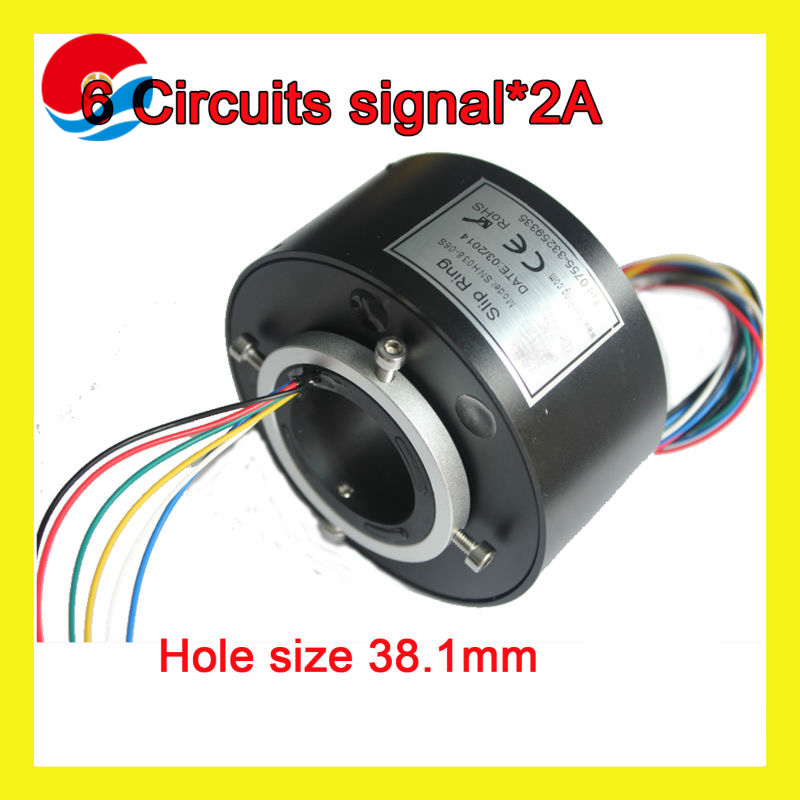 through hole Slip Ring 6 circuits signal 2A with bore size 38.1mm(1.5'')