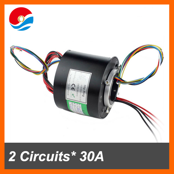 Slip ring ac motor 30A with 2 circuits/wires 38.1mm of through hole slip ring