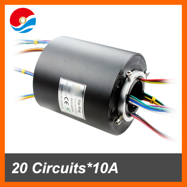 AC generator electric swivel slip ring 20 wires contact 10A of through hole slip ring