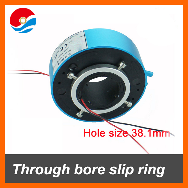 Through bore slip ring connector 2 circuits signal 2A with hole size 1.5''(38.1mm)