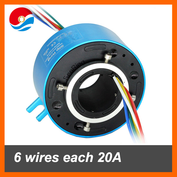 Rotary joint/Slip ring 6 wires 20A with hole size 38.1mm
