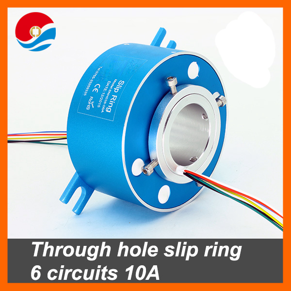 Through hole slip ring 6 circuits 10A, bore size 38.1mm