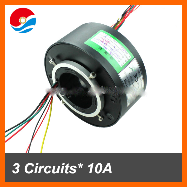 Slip ring connector rotate 4 circuits/wires 10A and 2 signal current of inner size 50mm through bore slip ring