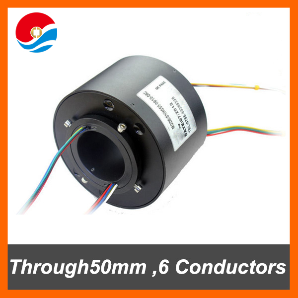 Electrical rotary connector 10A with 6 circuits/wires contact of through bore slip ring