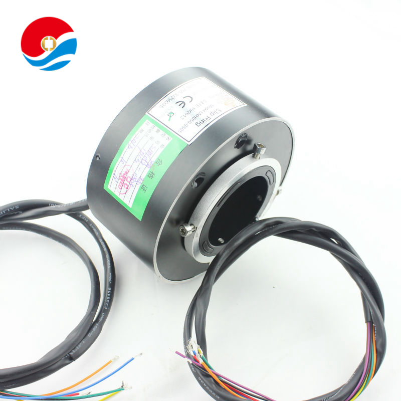 Rotary connector joint 2A with 6 circuits/signal contact of through hole slip ring