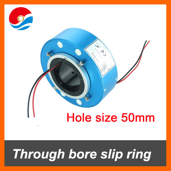 Through bore slip ring 50mm hole size 2 wires/circuits 10A