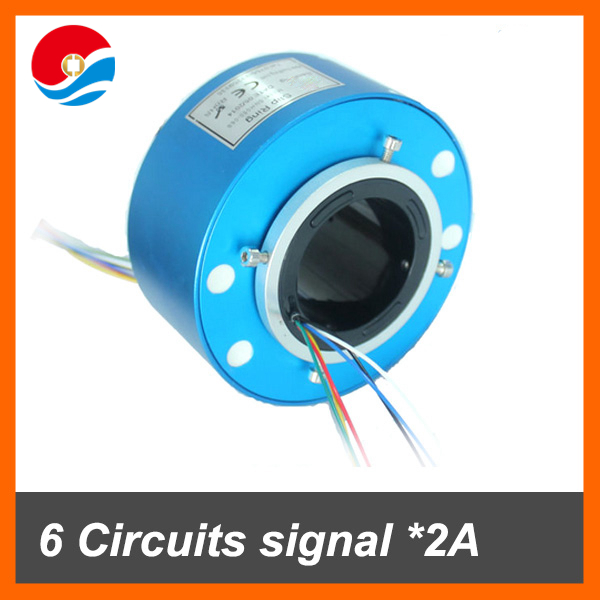 Power electrical rotary joint 6 wires signal 2A with bore size 50mm of through hole slip ring