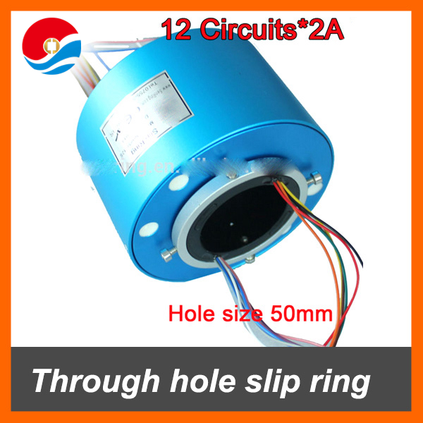 12 wires contact 2A with bore size 50mm of through hole slip ring /rotary joint