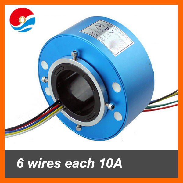 Through bore slip ring with hole size 50mm 6 wires each 10A