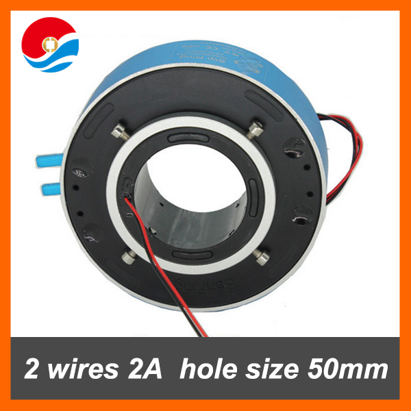 Rotary joint/through hole slip ring 2 wires 2A with bore size 50mm