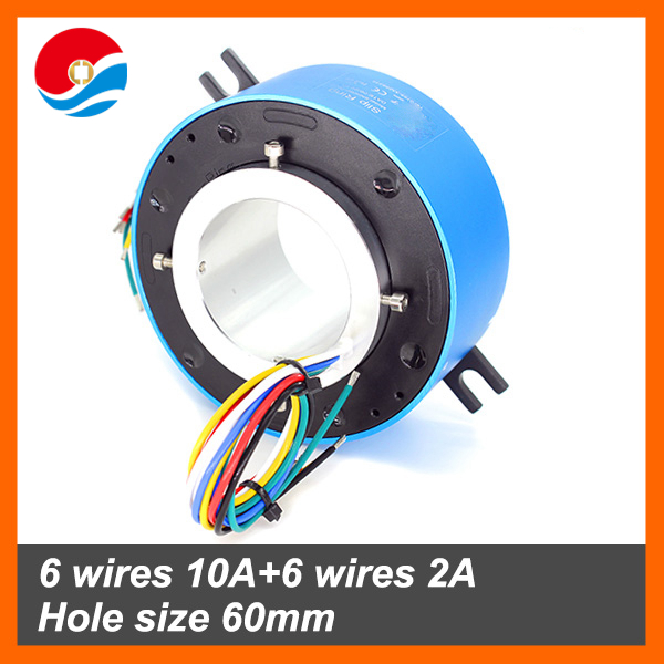 bore size 60mm with 6 wires 10A+6 wires 2A of through bore slip ring/Rotary joint