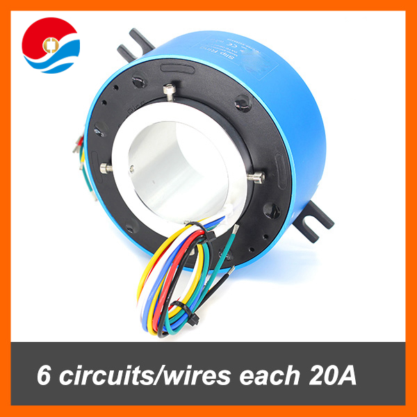 Rotary joint 6 circuits/wires each 20A with hole size 60mm slip ring
