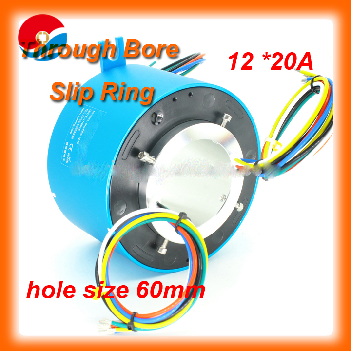 Rotary joint large current 20A 12 wires of through bore slip ring